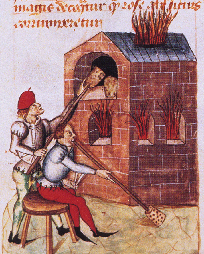La fabrication du verre au Moyen-Age